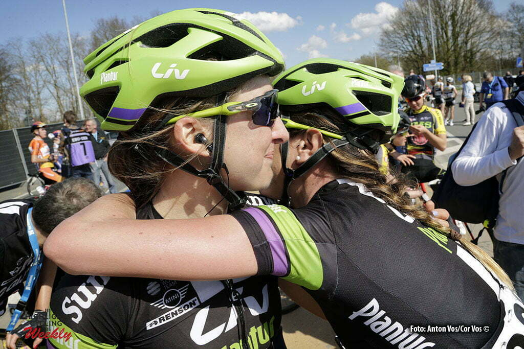 Oudenaarde - Belgium - wielrennen - cycling - radsport - cyclisme - Kirchmann Leah (Canada / Liv - Plantur) - Taylor Carlee (Australia / Liv - Plantur) pictured during the women Ronde van Vlaanderen - Tour de Flanders - from Oudenaarde to Oudenaarde - WT - world Tour photo Anton Vos/Cor Vos © 2016