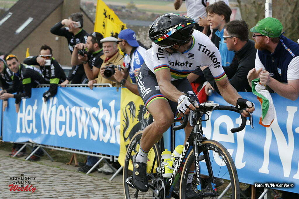 Oudenaarde - Belgium - wielrennen - cycling - radsport - cyclisme - Peter Sagan (Slowakia / Team Tinkoff - Tinkov) escape on Paterberg climb - Sep Vanmarcke (Belgium / Team LottoNL - Jumbo) in the background pictured during 100th Ronde van Vlaanderen - Tour de Flanders - from Brugge to Oudenaarde - photo NV/PN/Cor Vos © 2016