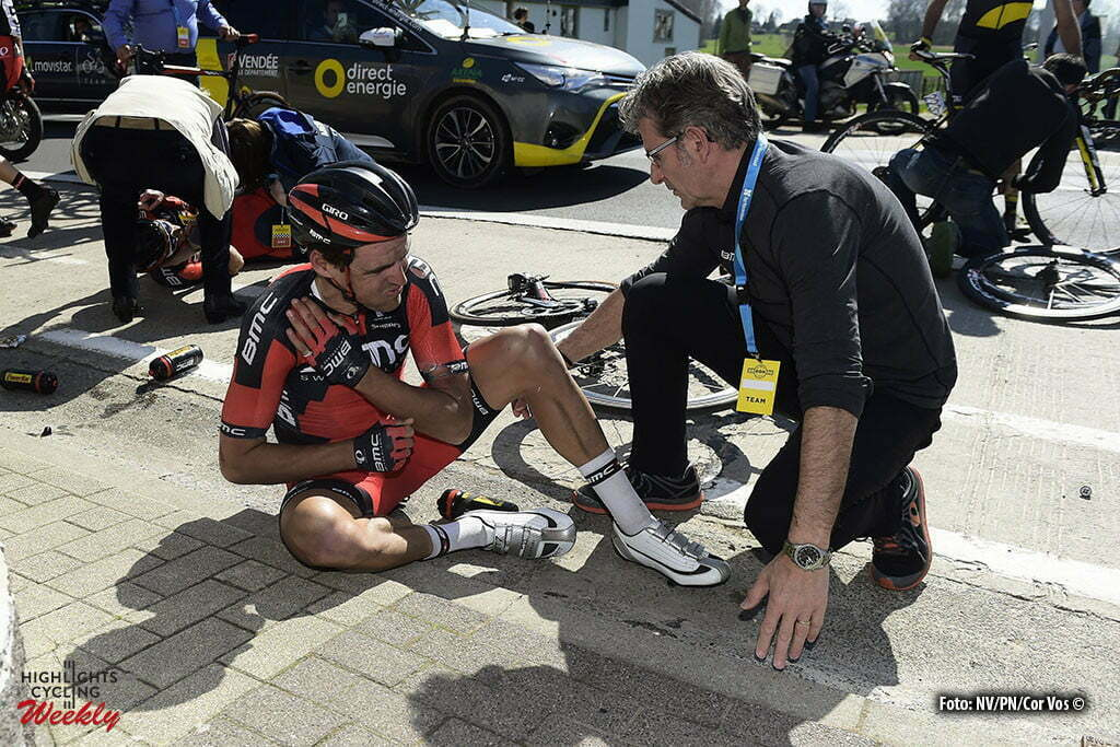 Oudenaarde - Belgium - wielrennen - cycling - radsport - cyclisme - crash val sturz fall Greg Van Avermaet (Belgium / BMC Racing Team) pictured during 100th Ronde van Vlaanderen - Tour de Flanders - from Brugge to Oudenaarde - photo NV/PN/Cor Vos © 2016