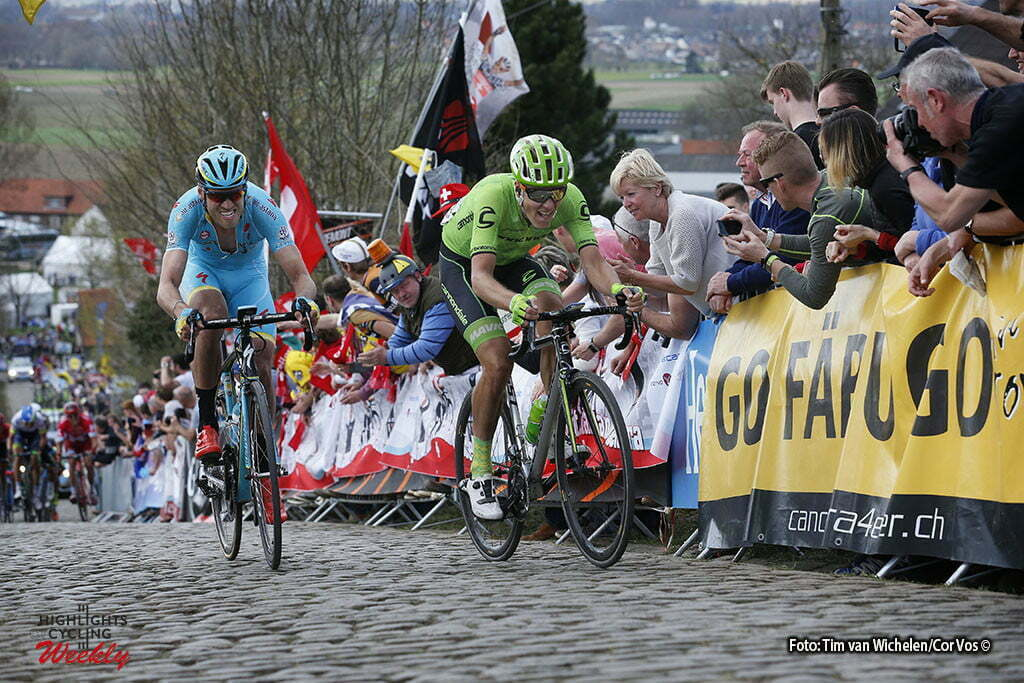 Oudenaarde - Belgium - wielrennen - cycling - radsport - cyclisme - Paterberg - Lars Boom (Netherlands / Team Astana) - Dylan Van Baarle (Netherlands / Cannondale Pro Cycling Team) pictured during 100th Ronde van Vlaanderen - Tour de Flanders - from Brugge to Oudenaarde - photo Tim van Wichelen/Cor Vos © 2016