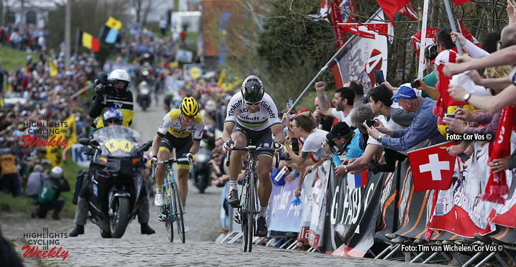 Oudenaarde - Belgium - wielrennen - cycling - radsport - cyclisme - Paterberg - Peter Sagan (Slowakia / Team Tinkoff - Tinkov) - Sep Vanmarcke (Belgium / Team Lotto Nl - Jumbo) pictured during 100th Ronde van Vlaanderen - Tour de Flanders - from Brugge to Oudenaarde - photo Tim van Wichelen/Cor Vos © 2016
