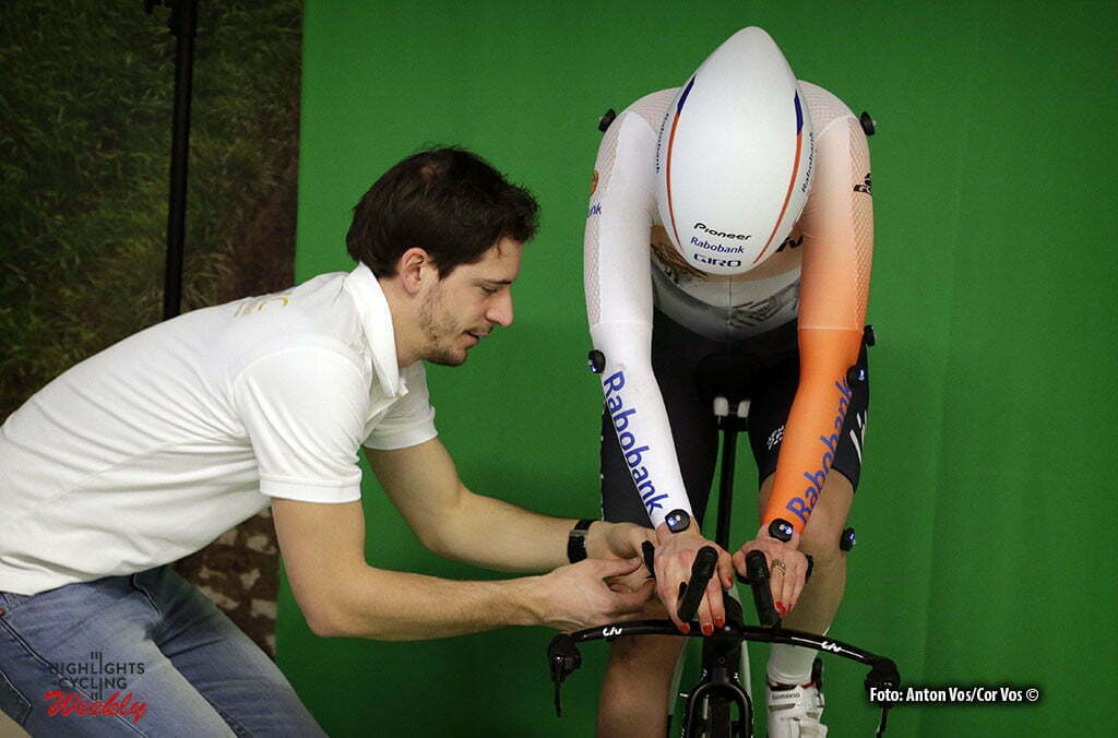 Eindhoven - Knetemann Roxane (Netherlands / Rabobank Liv Women Cycling Team) with Joep van Kesteren pictured during aero position test in Cycle Performance Centre in Eindhoven - photo: Anton Vos/ Cor Vos 2016 ©