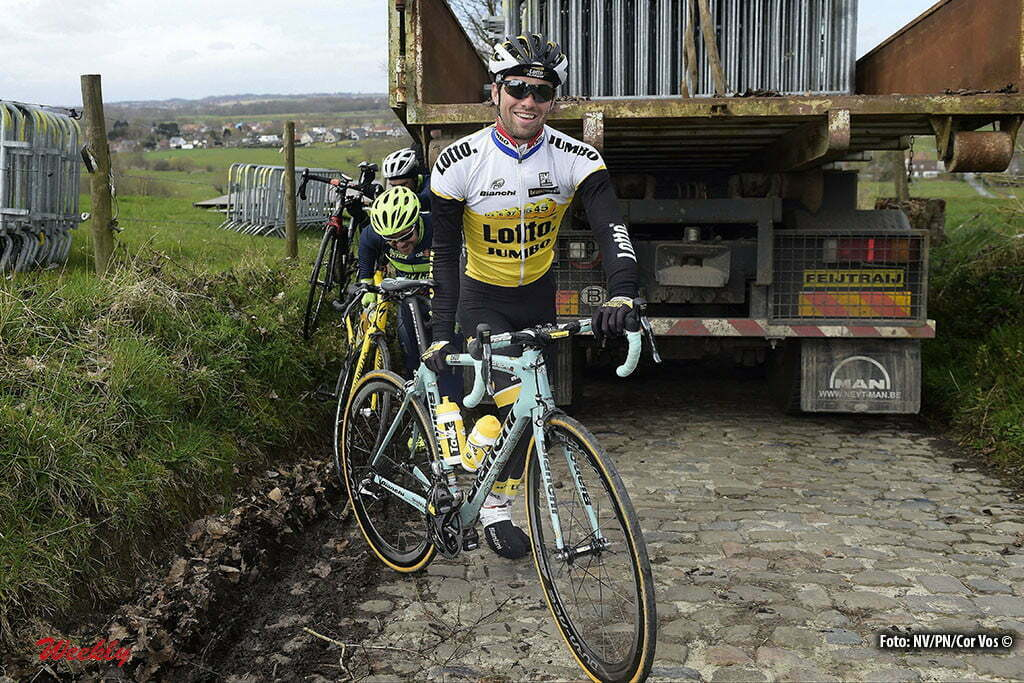 Oudenaarde - Belgium - wielrennen - cycling - radsport - cyclisme - Tom Van Asbroeck (Belgium / Team LottoNL - Jumbo) on the Koppenberg climb pictured during a team training session prior to 100th Tour of Flanders world cup 2016 race in the Oudenaarde region, Belgium - photo Cor Vos © 2015