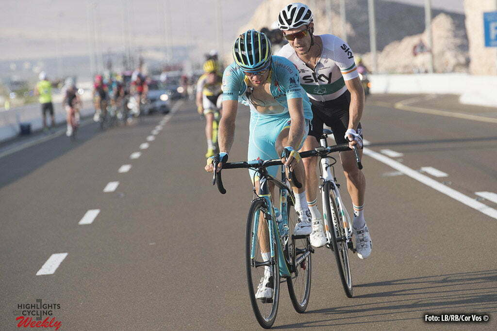 Abu Dhabi - UAE - wielrennen - cycling - radsport - cyclisme - Tanel Kangert (Astana) - Nicolas Roche (Team Sky) pictured during the Stage 3 from Al Ain - Jebel Hafeet 150 km - 22/10/2016 of the Abu Dhabi Tour 2016 - photo LB/RB/Cor Vos © 2016