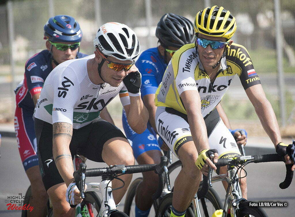 Abu Dhabi - UAE - wielrennen - cycling - radsport - cyclisme - Nicolas Roche (Team Sky) - Alberto Contador (Tinkoff) pictured during the Stage 3 from Al Ain - Jebel Hafeet 150 km - 22/10/2016 of the Abu Dhabi Tour 2016 - photo LB/RB/Cor Vos © 2016