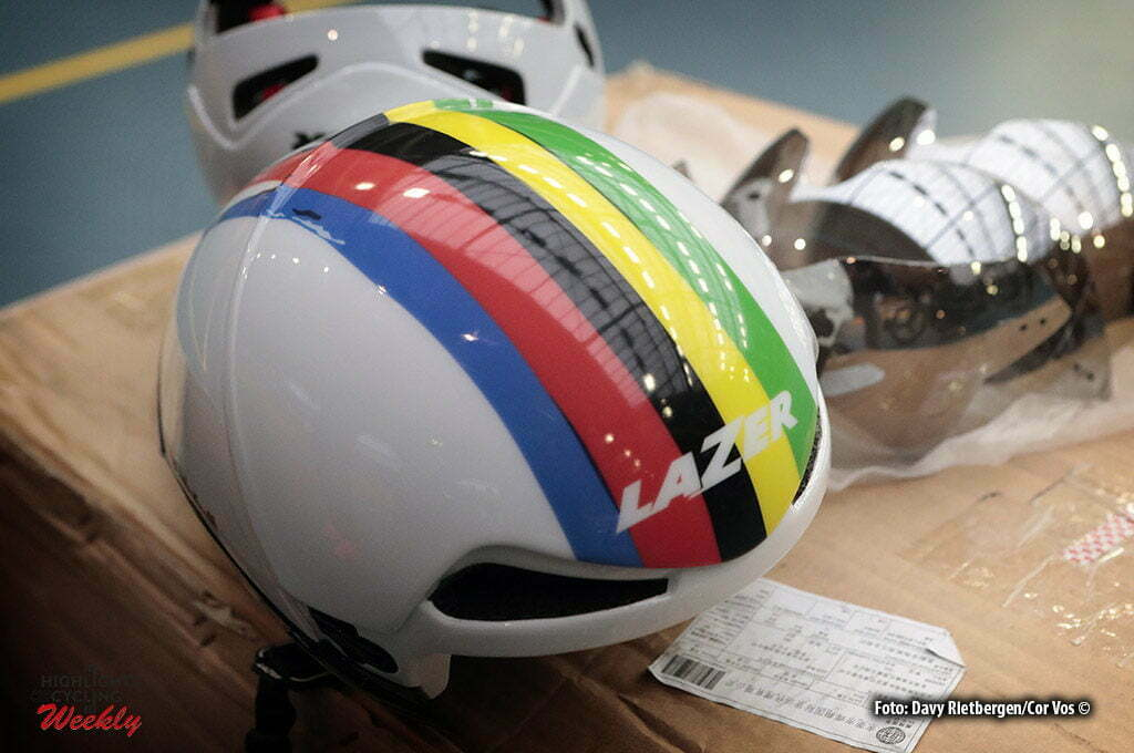 Alkamar - Netherlands - wielrennen - cycling - radsport - cyclisme - illustration - sfeer - illustratie Lazer helmet pictured during Aerodynamica test team LottoN L-Jumbo on the Velodrome in Alkmaar, the Netherlands - photo Davy Rietbergen/Cor Vos © 2017