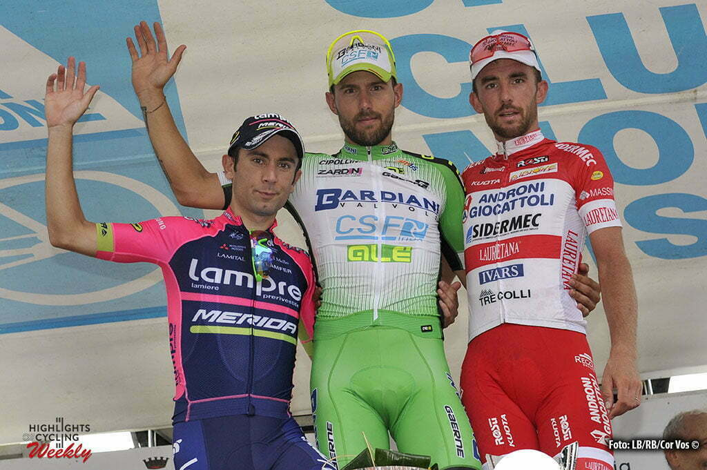 Lissone - Italy - wielrennen - cycling - radsport - cyclisme - Sonny Colbrelli (Bardiani - CSF) - Francesco Gavazzi (Androni - Sidermec) - Diego Ulissi (Lampre - Merida) pictured during Coppa Agostoni 2016 - Lissone - Lissone 199,9 km - 15/09/2016 - photo LB/RB/Cor Vos © 2016