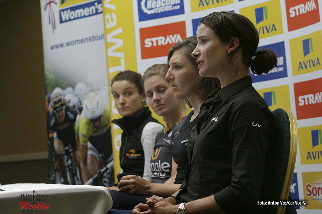 Norwich - England - wielrennen - cycling - radsport - cyclisme - Armitstead Elizabeth Lizzie (Great Britain / Boels Dolmans Cycling Team) - Johansson Emma (Sweden / Wiggle High5) - Brennauer Lisa (Germany / Canyon Sram Racing) - Vos Marianne (Netherlands / Rabobank Liv Women Cycling Team) pictured during press conference Women's Tour of Great Britain - photo Anton Vos/Cor Vos © 2016