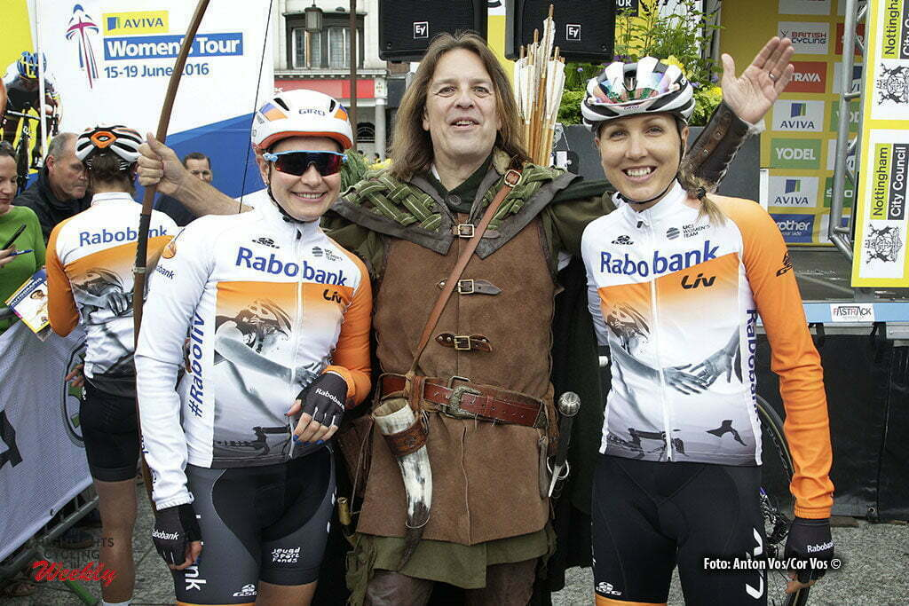 Stoke-on-Trent - England - wielrennen - cycling - radsport - cyclisme - Knetemann Roxane (Netherlands / Rabobank Liv Women Cycling Team) - Gillow Shara (Australia / Rabobank Liv Women Cycling Team) with Robin Hood pictured during Women's Tour of Great Britain stage- 4 from Nottingham to Stoke-on-Trent - photo Anton Vos/Cor Vos © 2016