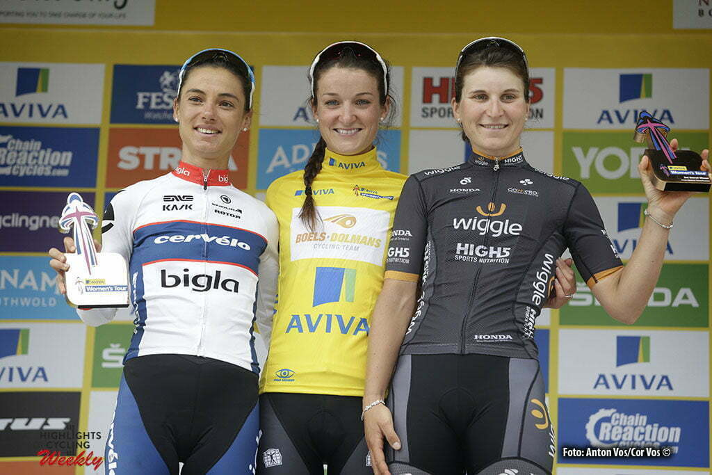 Kettering - England - wielrennen - cycling - radsport - cyclisme - Armitstead Elizabeth Lizzie (Great Britain / Boels Dolmans Cycling Team) - Moolman-Pasio Ashleigh (South Africa / Cervelo Bigla) - Longo Borghini Elisa (Italy / Wiggle High5) pictured during Women's Tour of Great Britain stage- 5 from Northampton to Kettering - photo Anton Vos/Cor Vos © 2016