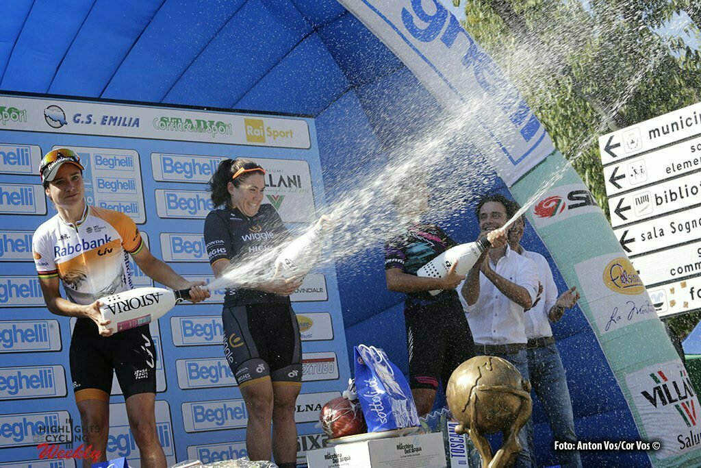 Monteveglio - Italy - wielrennen - cycling - radsport - cyclisme - Hosking Chloe (Australia / Wiggle High5) - Vos Marianne (Netherlands / Rabobank Liv Women Cycling Team) - Guarischi Barbara (Italy / Canyon Sram Racing) pictured during Gran Premio Bruno Beghelli Internazionale Donne Elite - photo Anton Vos/Cor Vos © 2016