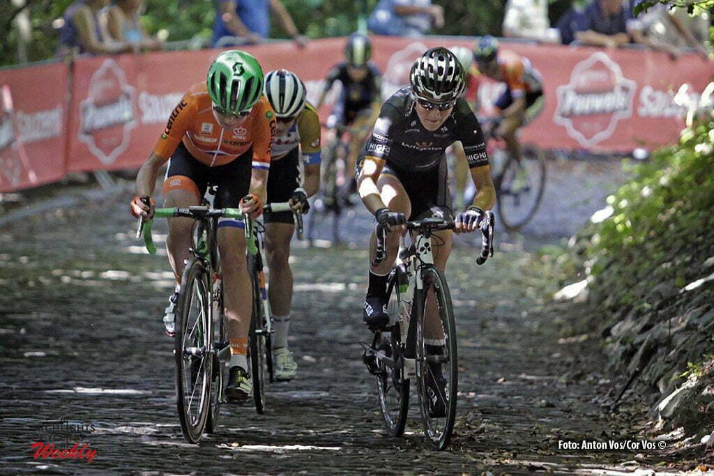 Geraardsbergen - Belgium - wielrennen - cycling - radsport - cyclisme - Longo Borghini Elisa (Italy / Wiggle High5) - Van Vleuten Annemiek (Netherlands / Orica AIS) - Vos Marianne (Netherlands / Rabobank Liv Women Cycling Team) pictured during the Lotto Belgium Tour stage 3 - photo Anton Vos/Cor Vos © 2016