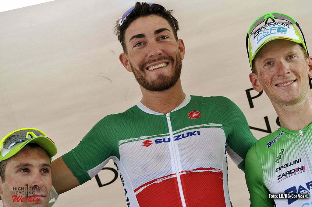 Legnano - Italy - wielrennen - cycling - radsport - cyclisme - Giacomo Nizzolo (Italia) - Nicola Ruffoni - Paolo Simion (Bardiani - CSF) pictured during Coppa Bernocchi 2016 - Legnano - Legnano 192 km - 14/09/2016 - photo LB/RB/Cor Vos © 2016