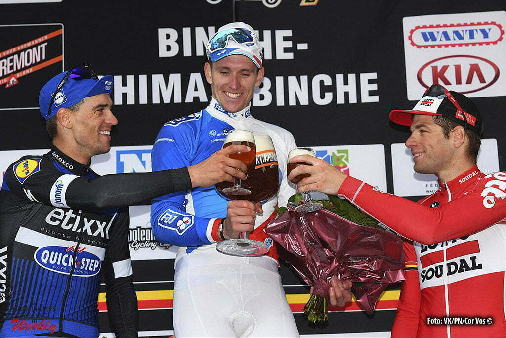 Binche - Belgium - wielrennen - cycling - radsport - cyclisme - Zdenek Stybar (Czech Republic / Team Etixx - Quick Step) - Arnaud Demare (Suisse / Team FDJ) - Jurgen Roelandts (Belgium / Team Lotto Soudal) pictured during the Belgian Cycling Cup Binche - Chimay - Binche (195 kms) Memorial Frank Vandenbroucke on October 04, 2016 in Binche, Belgium, 4/10/2016 - photo VK/PN/Cor Vos © 2016
