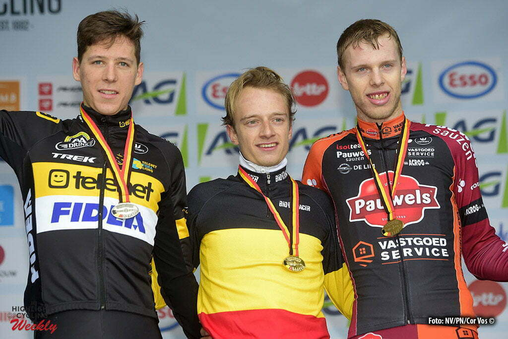 Oostende - Belgium - wielrennen - cycling - radsport - cyclisme - Cleppe Nicolas (BEL) of Telenet - Fidea Lions, Hermans Quinten (BEL) of Telenet - Fidea Lions and Peeters Yannick (BEL) of Sausen Pauwels - Vastgoedservice team pictured during the Belgian national championships cyclocross u23 men race 2017 at the Ostend Hippodrome on January 08, 2017 in Oostende, Belgium - photo NV/PN/Cor Vos © 2017