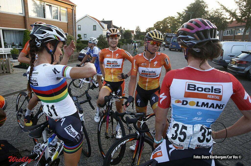 Tiel - Netherlands - wielrennen - cycling - radsport - cyclisme - Dideriksen Amalie (Denmark / Boels Dolmans Cycling Team) - Armitstead Elizabeth Lizzie (Great Britain / Boels Dolmans Cycling Team) - Blaak Chantal (Netherlands / Boels Dolmans Cycling Team) - Majerus Christine (Luxembourg / Boels Dolmans Cycling Team) - pictured during the Boels Ladies Tour stage 1 from Tiel to Tiel- photo Davy Rietbergen/Cor Vos © 2016