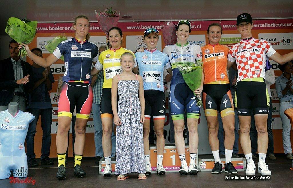 's Hertogenbosch - Netherlands - wielrennen - cycling - radsport - cyclisme - Evy Kuijpers - Knetemann Roxane (Netherlands / Rabobank Liv Women Cycling Team) - Niewiadoma Katarzyna Kasia (Poland / Rabobank Liv Women Cycling Team) Roy Sarah (Australia / Orica AIS ) Blaak Chantal (Netherlands / Boels Dolmans Cycling Team) Van Gogh Natalie (Netherlands / Parkhotel Valkenburg) - pictured during the Boels Ladies Tour stage 4 from 's Hertogenbosch to 's Hertogenbosch - photo Anton Vos/Cor Vos © 2016