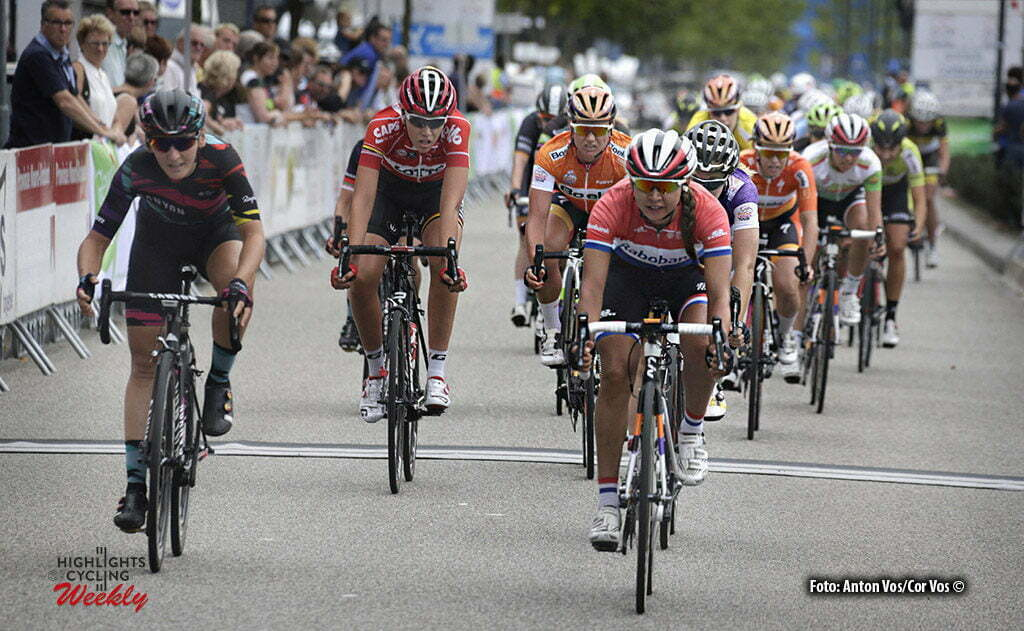 's Hertogenbosch - Netherlands - wielrennen - cycling - radsport - cyclisme - Koster Anouska (Netherlands / Rabobank Liv Women Cycling Team) - Brennauer Lisa (Germany / Canyon Sram Racing) pictured during the Boels Ladies Tour stage 4 from 's Hertogenbosch to 's Hertogenbosch - photo Anton Vos/Cor Vos © 2016