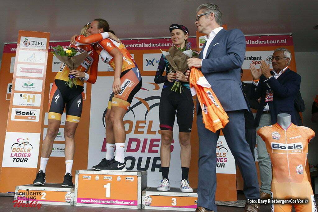 Valkenburg - Netherlands - wielrennen - cycling - radsport - cyclisme - Van Dijk Ellen (Netherlands / Boels Dolmans Cycling Team) - Blaak Chantal (Netherlands / Boels Dolmans Cycling Team) - Pierre Boels (CEO) pictured during the Boels Ladies Tour stage 6 from Bunde to Valkenburg - photo Davy Rietbergen/Cor Vos © 2016
