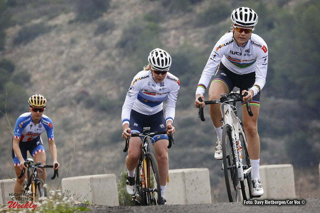 Calpe - Spain - wielrennen - cycling - radsport - cyclisme - Amalie Dideriksen - Anna van der Breggen and Megan Guarnier (Denmark / Boels Dolmans Cycling Team) pictured during fotoshoot team Boels - Dolmans 2017 in Calpe, Spain - photo Davy Rietbergen/Cor Vos © 2016