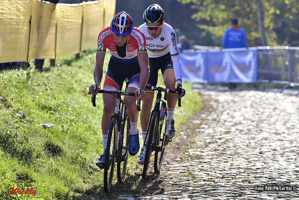 Boom - Belgium - wielrennen - cycling - radsport - cyclisme - Wout Van Aert (BEL) of Vastgoedservice - Golden Palace - Mathieu van Der Poel (NED) of Beobank - Corendon pictured during the Elite men Niels Abertcross cyclocross race on October 22, 2016 in Boom, Belgium - photo PDV/PN/Cor Vos © 2016