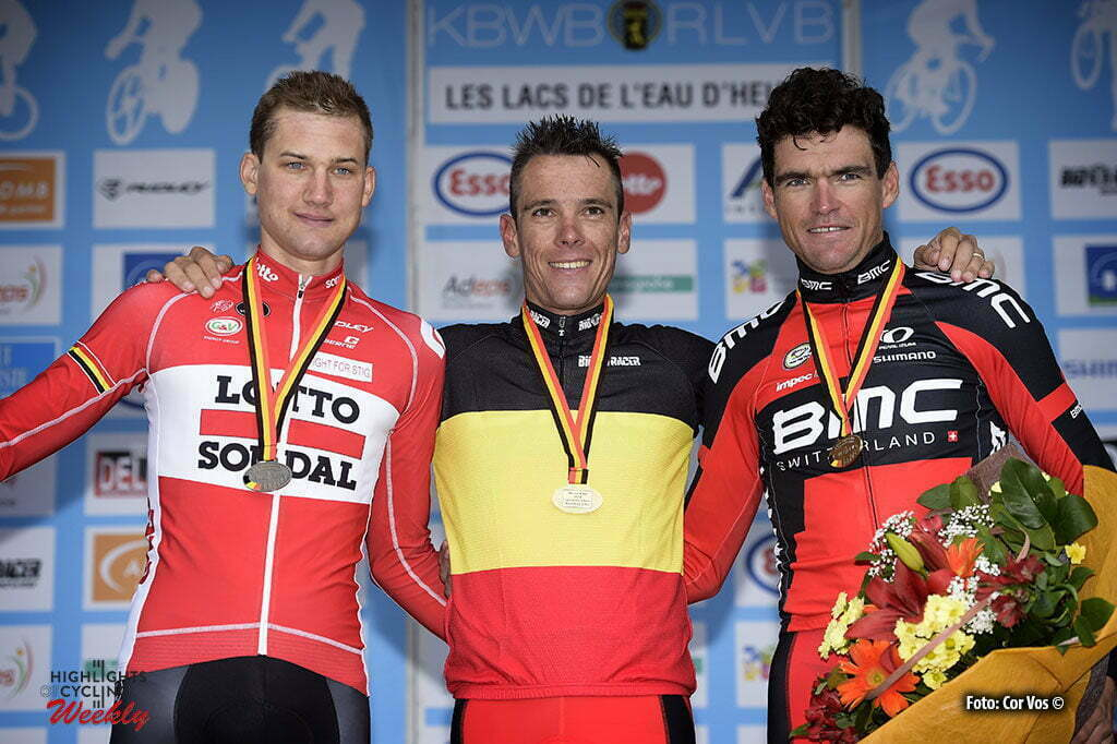 Boussu-Lez-Walcourt - Belgium - wielrennen - cycling - radsport - cyclisme - Tim Wellens (Belgium / Team Lotto Soudal) - Philippe Gilbert (Belgium / BMC Racing Team) - Greg Van Avermaet (Belgium / BMC Racing Team) pictured during the 2016 Belgian national championship cycling race elite men with start and finish in Boussu-Lez-Walcourt (231 km) - photo NV/PN/Cor Vos © 2016
