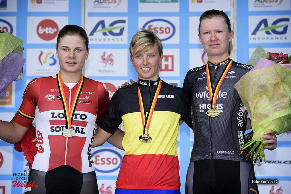 Boussu-Lez-Walcourt - Belgium - wielrennen - cycling - radsport - cyclisme - Lotte Kopecky, Kaat Hannes and Jolien D'Hoore pictured during the 2016 Belgian national championship cycling race elite women with start and finish in Boussu-Lez-Walcourt (231 km) - photo NV/PN/Cor Vos © 2016