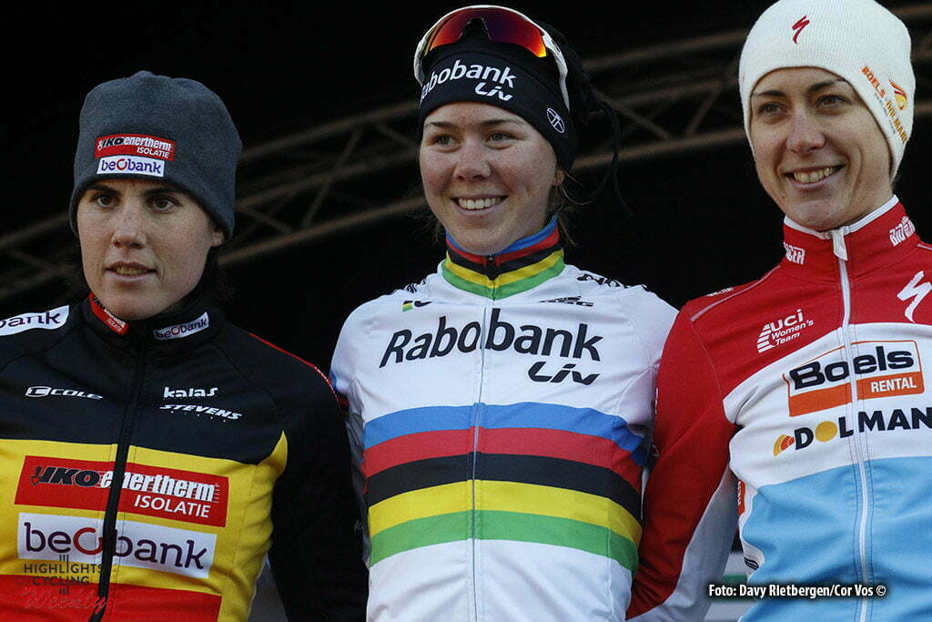 Francorchamps - Belgium - wielrennen - cycling - radsport - cyclisme - Sanne Cant - Thalita De Jong - Christine Majerus pictured during the Hansgrohe Superprestige Ladies Trophy cyclocross race in Spa - Francorchamps, Belgium- photo Davy Rietbergen/Cor Vos © 2016