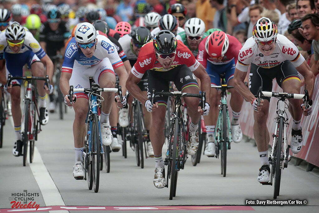 Sint Pieters Leeuw - Belgium - wielrennen - cycling - radsport - cyclisme - Peter Sagan (Slowakia / Team Tinkoff - Tinkov) - Andre Greipel (Germany / Team Lotto Soudal) - Arnaud Demare (Suisse / Team FDJ) - Dylan Groenewegen (Netherlands / Team LottoNL - Jumbo) pictured during Eneco Tour stage -4 - UCI World Tour) from Aalter to Sint Pieters Leeuw - photo Davy Rietbergen/Cor Vos © 2016 motard Kenny Verfaillie