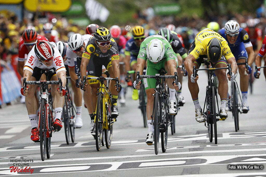 Angers - France - wielrennen - cycling - radsport - cyclisme - Andre Greipel (GER-Lotto-Soudal) - Mark Cavendish (Dimension Data) - Bryan Coquard (FRA-Direct Energie) - Peter Sagan (SLK-Tinkoff) pictured during stage 3 of the 2016 Tour de France from Granville to Angers, 222.00 km - photo LB/RB/Cor Vos © 2016
