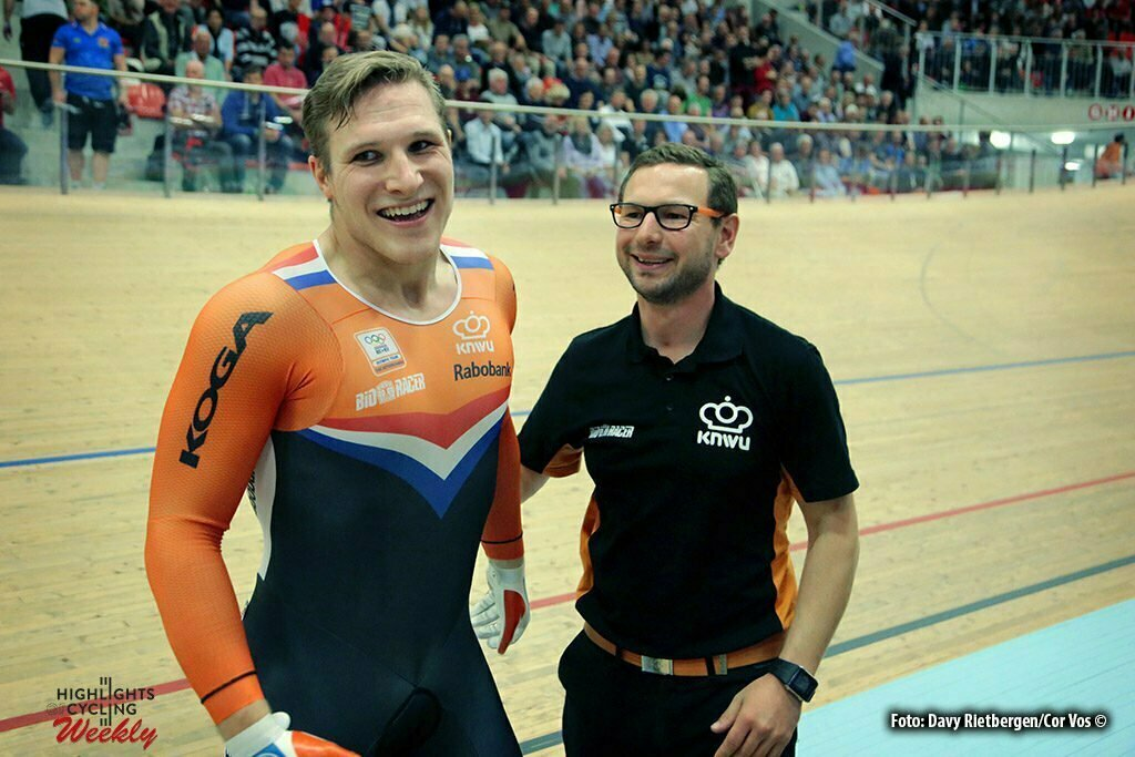 Grenchen - Switserland - wielrennen - cycling - radsport - cyclisme - Jeffrey Hoogland (NED) - coach Rene Wolff (NED) pictured during the Europeen Championships Track in Grenchen, Switserland - photo Davy Rietbergen/Cor Vos © 2015