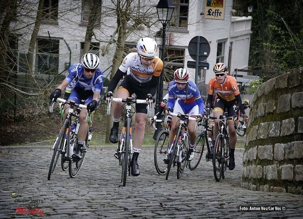 Gooik - Belgium - wielrennen - cycling - radsport - cyclisme - Muur van Geraardsbergen -Van der Breggen Anna (Rabobank Liv Women Cycling Team) - Niewiadoma Katarzyna Kasia (Rabobank Liv Women Cycling Team) Ferrand Prevot Pauline (Rabobank Liv Women Cycling Team) Van Dijk Ellen (Boels Dolmans Cycling Team) - illustration - sfeer - illustratie pictured during Pajot Hills Classic - photo Anton Vos/Cor Vos © 2016