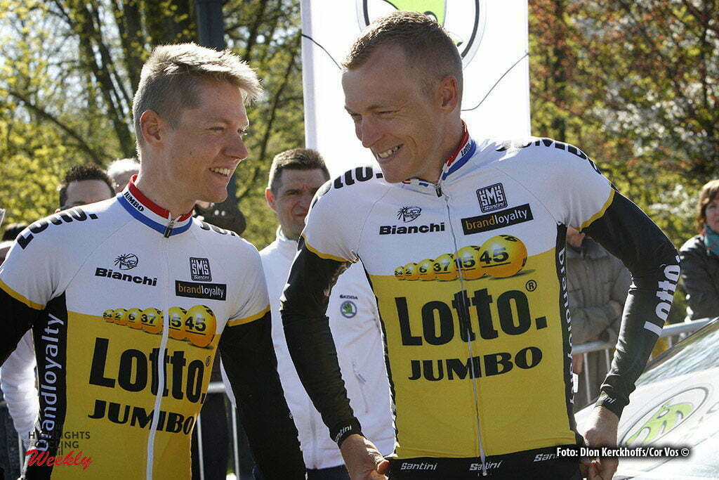 Huy - Belgium - wielrennen - cycling - radsport - cyclisme - Wilco Kelderman (Netherlands / Team Lotto Nl - Jumbo) - Robert Gesink (Netherlands / Team Lotto Nl - Jumbo) pictured during Fleche Wallonne 2016 - photo Dion Kerckhoffs/Cor Vos © 2016