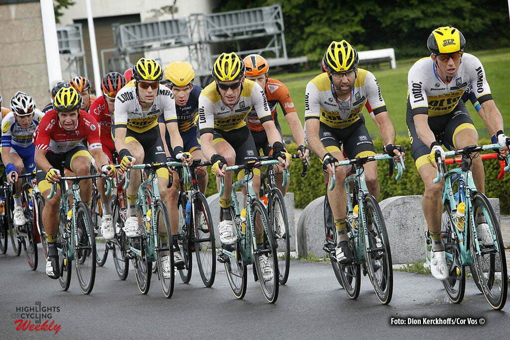 La Gileppe (Jalhay) - Belgium - wielrennen - cycling - radsport - cyclisme - Sep Vanmarcke (Belgium / Team Lotto Nl - Jumbo) - Tom Leezer (Netherlands / Team Lotto Nl - Jumbo) - Jos Van Emden (Netherlands / Team Lotto Nl - Jumbo) - Timo Roosen (Netherlands / Team Lotto Nl - Jumbo) - Dylan Groenewegen (Netherlands / Team Lotto Nl - Jumbo) pictured during stage 4 of the Ster ZLM Toer - GP Jan van Heeswijk 2016 in La Gileppe, Belgium - photo Dion Kerckhoffs/Cor Vos © 2016
