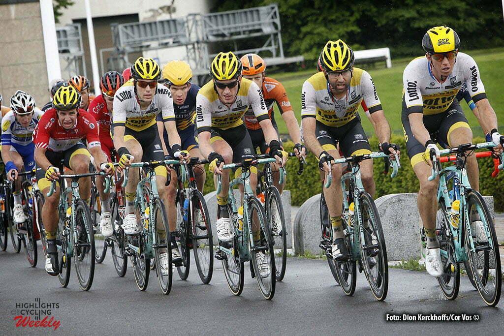 La Gileppe (Jalhay) - Belgium - wielrennen - cycling - radsport - cyclisme - Sep Vanmarcke (Belgium / Team Lotto Nl - Jumbo) - Tom Leezer (Netherlands / Team Lotto Nl - Jumbo) - Jos Van Emden (Netherlands / Team Lotto Nl - Jumbo) - Timo Roosen (Netherlands / Team Lotto Nl - Jumbo) - Dylan Groenewegen (Netherlands / Team Lotto Nl - Jumbo) pictured during stage 4 of the Ster ZLM Toer - GP Jan van Heeswijk 2016 in La Gileppe, Belgium - photo Dion Kerckhoffs/Cor Vos © 2016