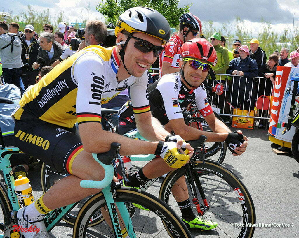 Utah Beach - France - wielrennen - cycling - radsport - cyclisme - Wagner Robert (Germany / Team LottoNL - Jumbo) - Benedetti Cesare (Italy / Bora Argon 18) pictured during stage 1 of the 2016 Tour de France form Mont-Saint-Michel - Sainte-Marie-du-Mont (Utah Beach) - photo Miwa IIjima/Cor Vos © 2016