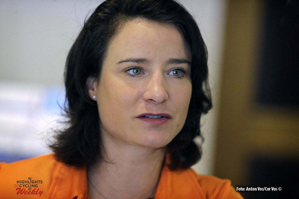 Doha - Qatar - wielrennen - cycling - radsport - cyclisme - Marianne Vos (Netherlands / Rabobank Liv Women Cycling Team) pictured during KNWU persontbijt before the UCI Road World Championships 2016 in Qatar - photo Anton Vos/Cor Vos © 2016