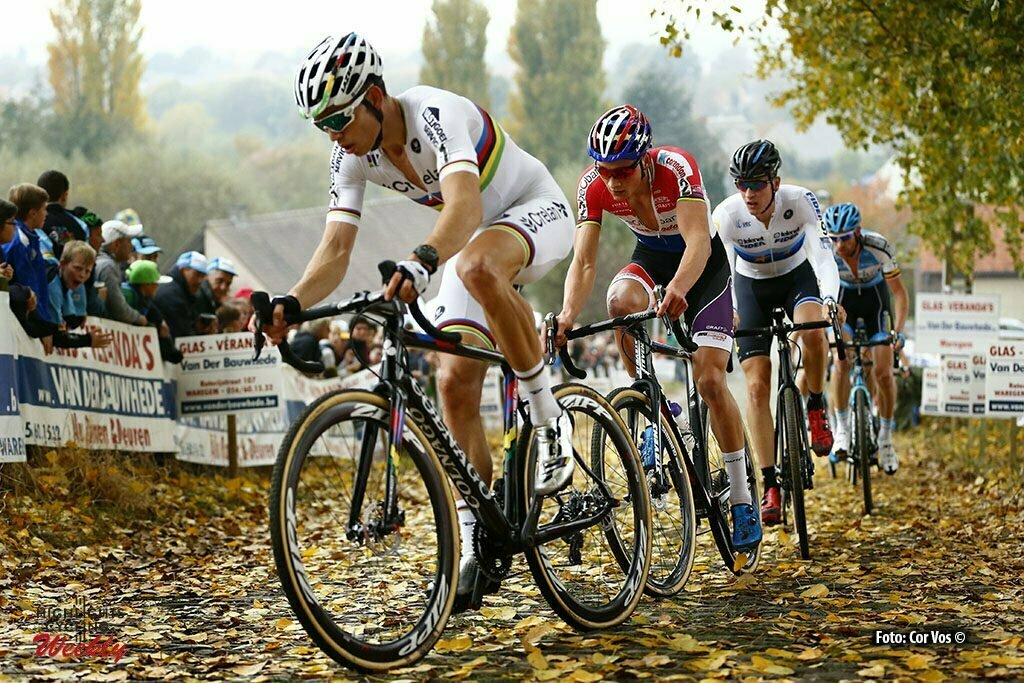 Melden, Belgium - cycling - wielrennen - radsport - Wout van Aert (BEL) of Vastgoedservice - Golden Palace - Mathieu van der Poel (NED) of Beobank - Corendon and Toon Aerts (BEL) of Telenet - Fidea Lions pictured during the DVV Trophy Koppenbergcross in Melden. photo JB/PN/Cor Vos © 2016