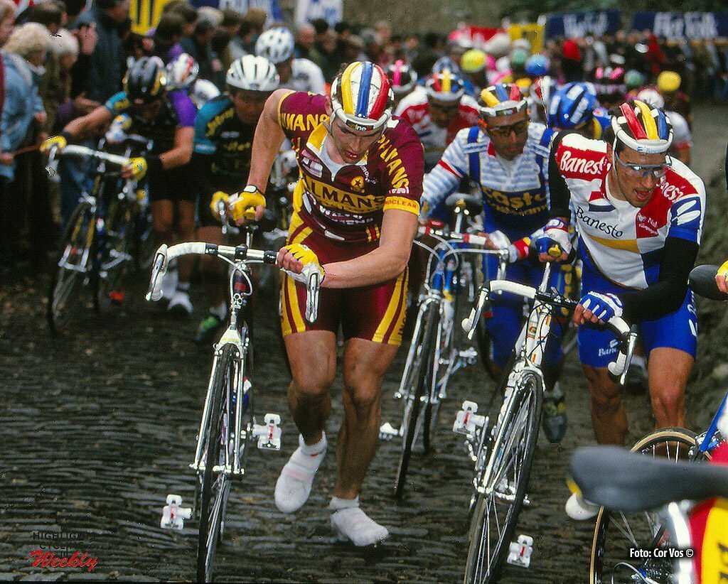Hoogvliet - wielrennen - cycling - radsport - cyclisme - Archief - Stock - archives divers season 1990 - illustration - sfeer - illustratie on the Muur van Geraardsbergen - photo Cor Vos © 2016