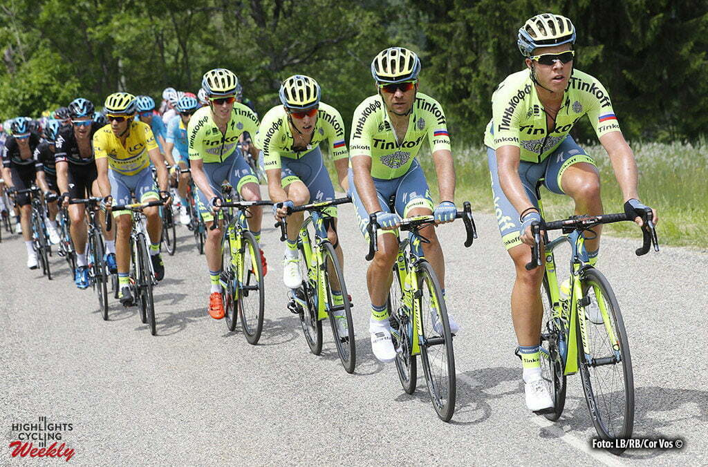 Vaujany - France - wielrennen - cycling - radsport - cyclisme - teammates of Alberto Contador Velasco (Spain / Team Tinkoff - Tinkov) pictured during stage 5 of the Criterium du Dauphine 2016 from La Ravoire to Vaujany (140 KM) - photo LB/RB//Cor Vos © 2016