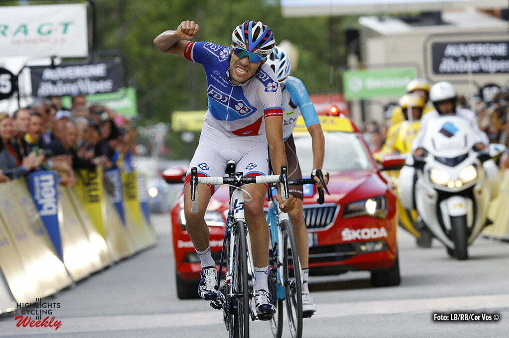 Méribel - France - wielrennen - cycling - radsport - cyclisme - Thibaut Pinot (FDJ) - Bardet Romain (France / Team AG2R La Mondiale) pictured during stage 6 of the Critérium du Dauphiné 2016 from La Rochette to Méribel (141 KM) - photo LB/RB/Cor Vos © 2016