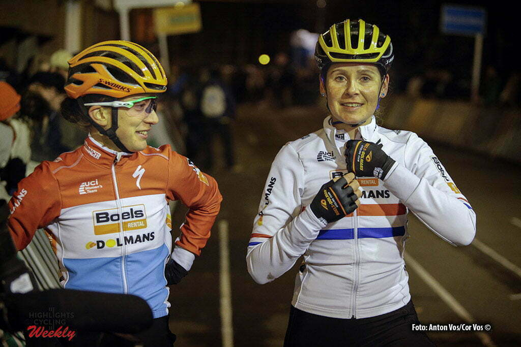 Diegem - Belgium - wielrennen - cycling - radsport - cyclisme - Majerus Christine (Luxembourg / Boels Dolmans Cycling Team) Brammeier Harris Nikki (Great Britain / Boels Dolmans Cycling Team) pictured during the women's elite Hansgrohe Superprestige cyclocross race of Diegem, Belgium - photo Anton Vos/Cor Vos © 2016