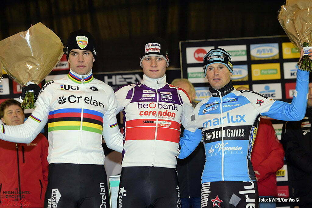 Diegem - Belgium - wielrennen - cycling - radsport - cyclisme - Van Aert Wout (BEL) of Vastgoedservice - Golden Palace, Van Der Poel Mathieu (NED) of Beobank - Corendon and Pauwels Kevin (BEL) of Marlux - Napoleongames pictured during the elite Hansgrohe Superprestige cyclocross race of Diegem, Belgium - photo NV/PN/Cor Vos © 2016