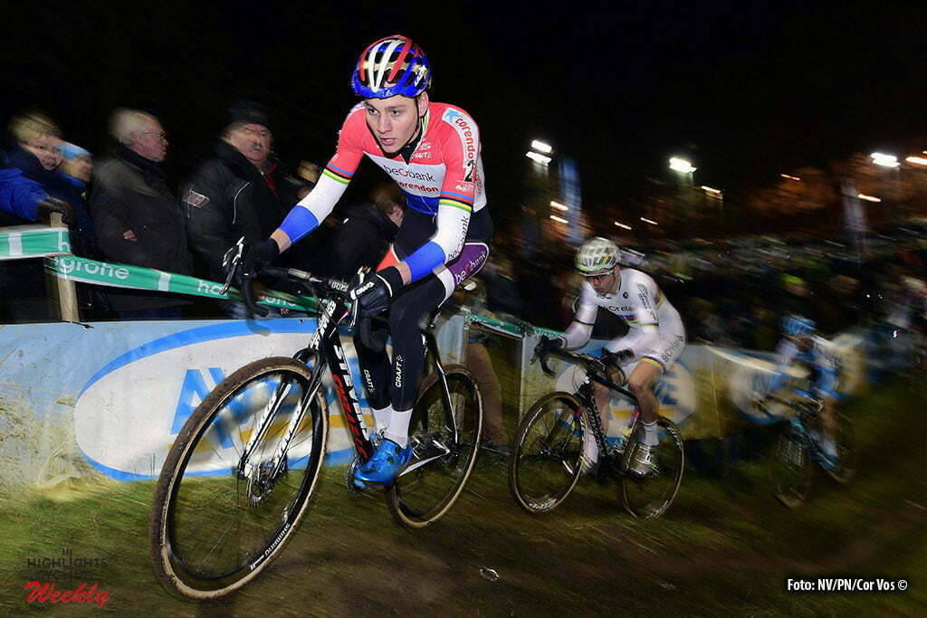 Diegem - Belgium - wielrennen - cycling - radsport - cyclisme - Van Der Poel Mathieu (NED) of Beobank - Corendon, Van Aert Wout (BEL) of Vastgoedservice - Golden Palace and Pauwels Kevin (BEL) of Marlux - Napoleongames pictured during the elite Hansgrohe Superprestige cyclocross race of Diegem, Belgium - photo NV/PN/Cor Vos © 2016