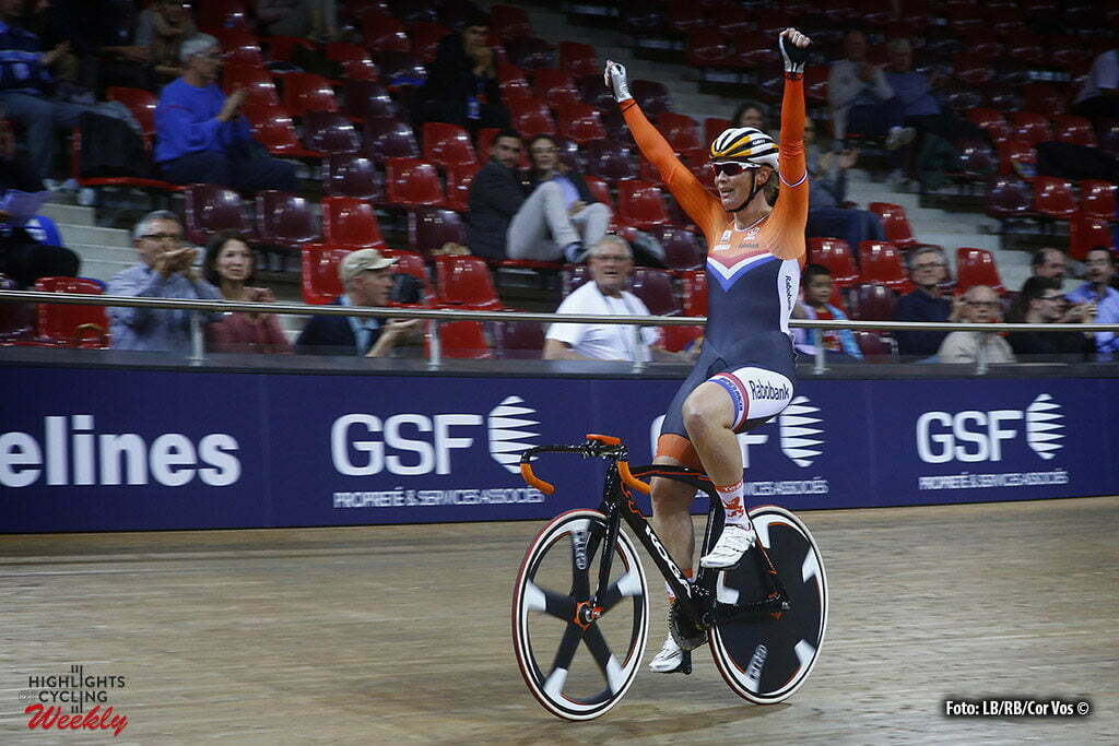 Saint Quintin-en-Yveniles - France - wielrennen - cycling - radsport - cyclisme - Kirsten Wild takes gold in elimination women elite race pictured during European Track Championships cycling in Saint Quintin-en-Yveniles, France - photo LB/RB/Cor Vos © 2016