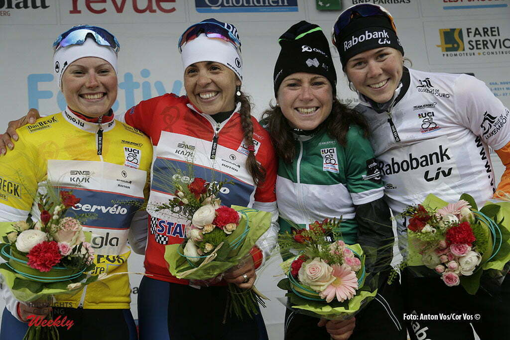 Steinfort - Luxembourg - wielrennen - cycling - radsport - cyclisme - Lepisto Lotta (Finland / Cervelo Bigla) - Small Carmen (USA / Cervelo Bigla) - Van Vleuten Annemiek (Netherlands / Orica AIS) - De Jong Thalita (Netherlands / Rabobank Liv Women Cycling Team) pictured during Festival Elsy Jacobs 2016 - stage 1 - womens cyclingrace in Steinfort - photo Anton Vos/Cor Vos © 2016