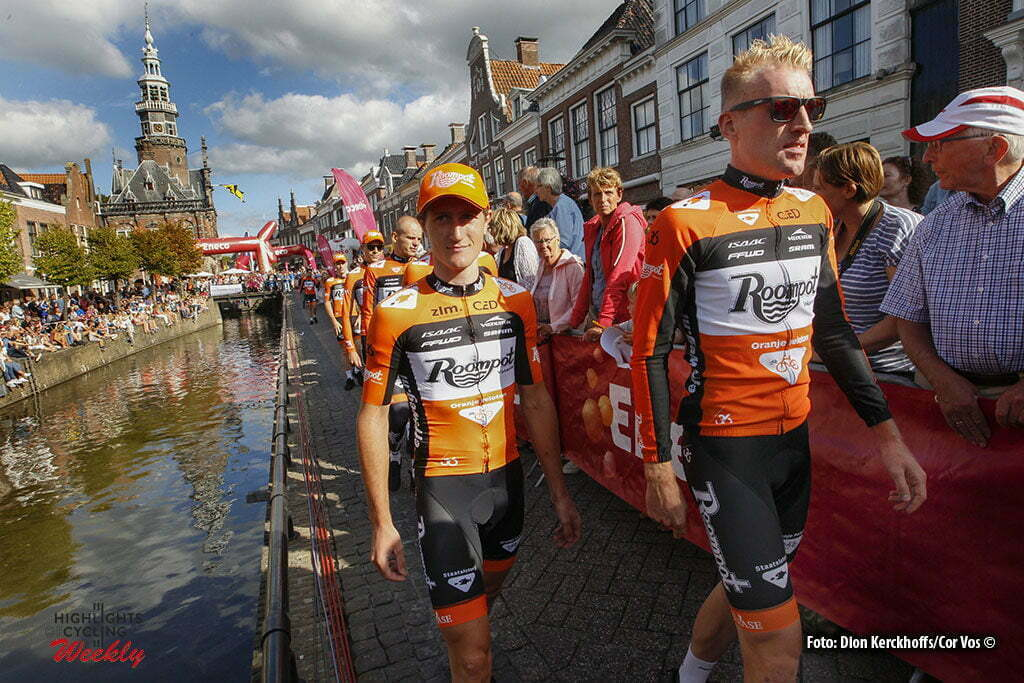Bolsward - Netherlands - wielrennen - cycling - radsport - cyclisme - Berden de Vries (Netherlands / Roompot - Oranje Peloton) - Nick van der Lijke (Netherlands / Roompot - Oranje Peloton) pictured during Eneco Tour teampresentation in Bolsward - photo Dion Kerckhoffs/Cor Vos © 2016
