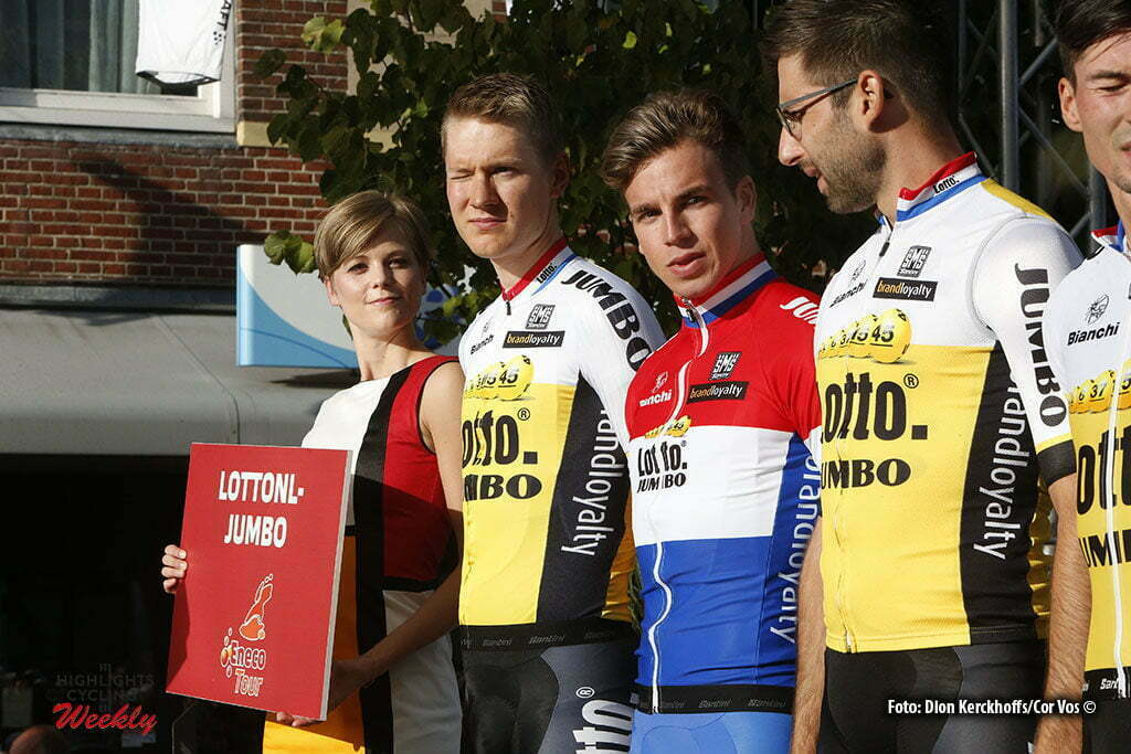 Bolsward - Netherlands - wielrennen - cycling - radsport - cyclisme - Wilco Kelderman (Netherlands / Team LottoNL - Jumbo) - Dylan Groenewegen (Netherlands / Team LottoNL - Jumbo) - Tom Leezer (Netherlands / Team LottoNL - Jumbo) pictured during Eneco Tour teampresentation in Bolsward - photo Dion Kerckhoffs/Cor Vos © 2016