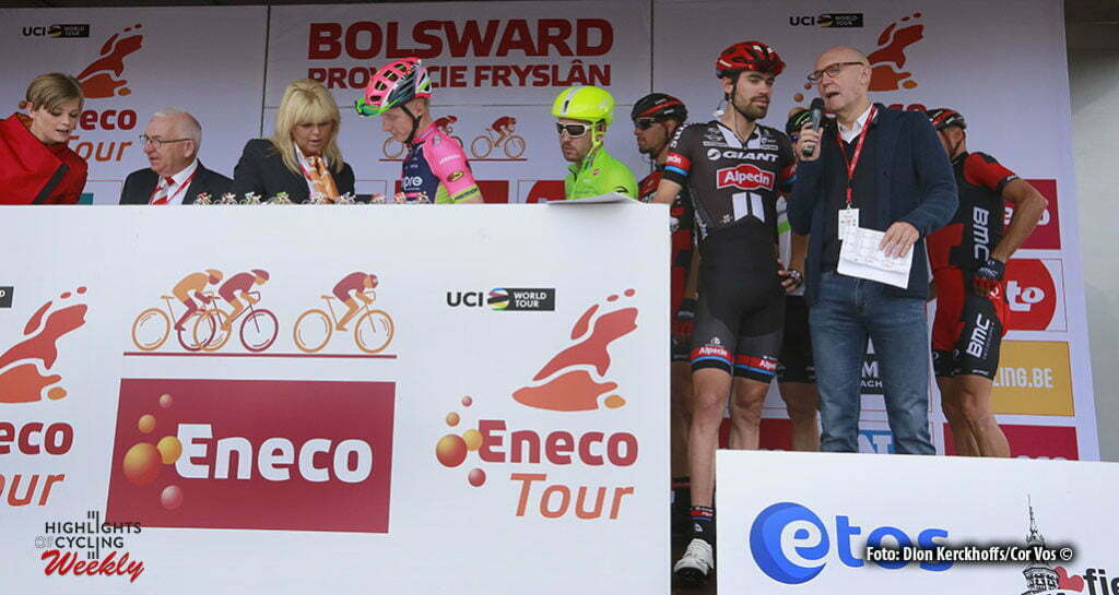 Bolsward - Netherlands - wielrennen - cycling - radsport - cyclisme - illustration - sfeer - illustratie Tom Dumoulin (Netherlands / Team Giant - Alpecin) - moderator Michel Wuyts (VRT) pictured during Eneco Tour stage -1 - UCI World Tour) from Bolsward to Bolsward - photo Dion Kerckhoffs/Cor Vos © 2016 motard Jos Verschuur
