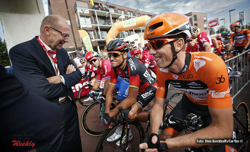 Bolsward - Netherlands - wielrennen - cycling - radsport - cyclisme - Joop Atsma - Greg Van Avermaet (Belgium / BMC Racing Team) - Pieter Weening (Netherlands / Roompot - Oranje Peloton) pictured during Eneco Tour stage -1 - UCI World Tour) from Bolsward to Bolsward - photo Dion Kerckhoffs/Cor Vos © 2016 motard Jos Verschuur